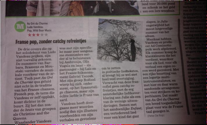 """77a4e1d08f9aa1 Recensie CD """" Au Gré du Charmé"""" Het Nieuwsblad"""